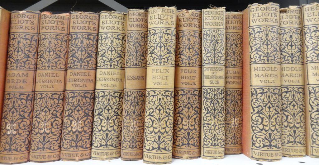 Row of books. All are cream coloured. The words George Eliot's works are in blue at the top of every book. This is followed by a blue pattern. The title of each book is shown in blue in the centre of the spine followed by another blue pattern.