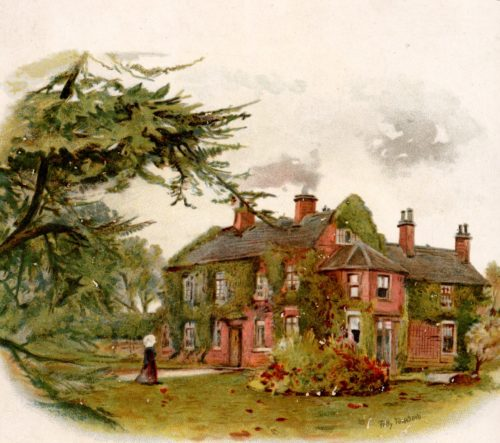Colour illustration showing a large house with a number of windows and smoking chimneys. The walls are covered in ivy. In the foreground is a garden and the house is framed by trees. A figure can be seen in the foreground.