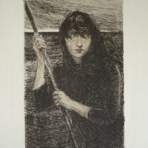 Black and white illustration showing a woman. Her expression is scared or apprehensive. She is holding a large stick and water surrounds her. Her dark hair appears to be blowing across her face.