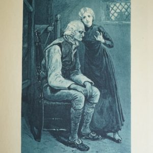 Black and white illustration showing a side view of a seated older man. A young woman with light coloured hair and a long black dress is faces the front and cradles his head. A loom can be seen to the left hand side and a small window is above them to the right hand side.