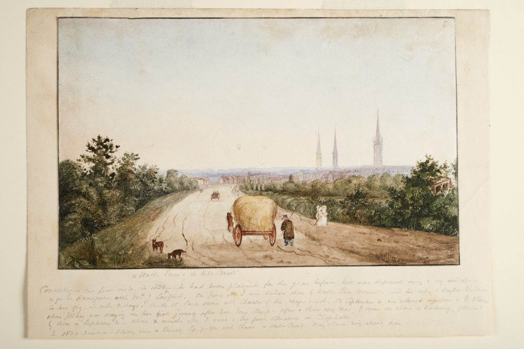 Painting showing a rough lane in the foreground. A hay filled cart and figure are on the lane. There are two women in bonnets to the right hand side and two dogs to the left hand side. The lane is surrounded by green bushes and trees. Houses can be seen ahead. In the distance are three tall spires.