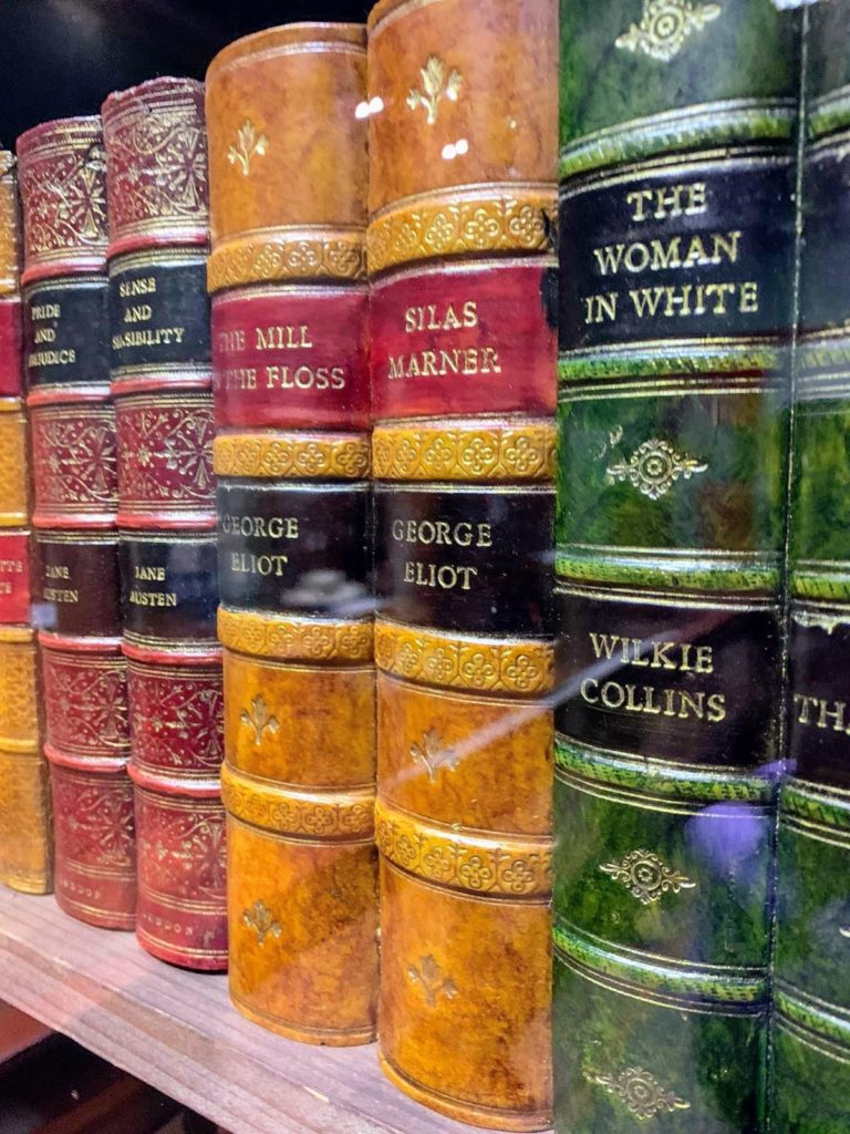 A picture of some old book spines