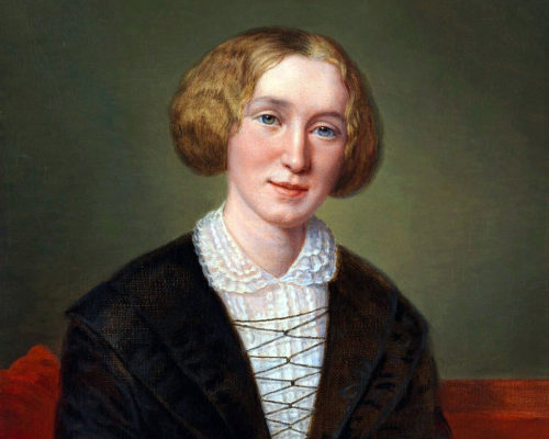 Painting of a seated woman. Her light coloured hair is wavy and gathered up at the jaw line. She has blue eyes. She is wearing a white blouse with collar and a black jacket. The wall behind is green.