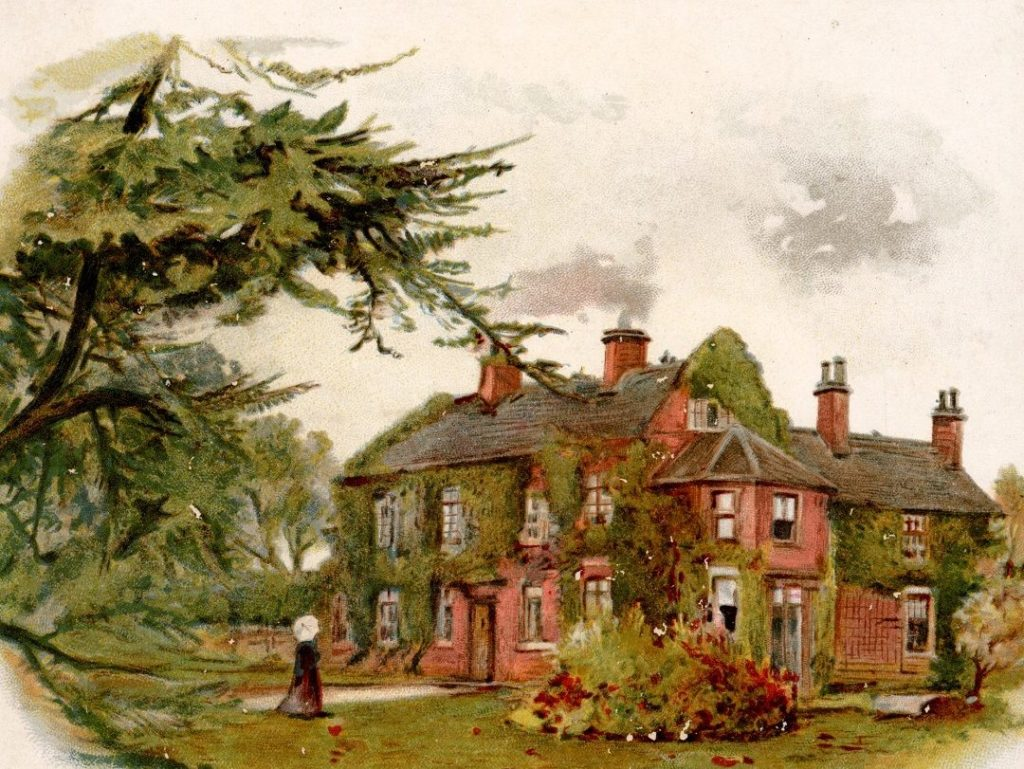 Colour illustration showing a large house with a number of windows smoking chimneys. The walls are covered in ivy. In the foreground is a garden and the house is framed by trees. A figure can be seen in the foreground.