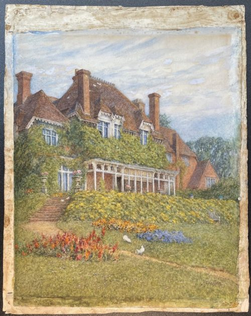 Watercolour of a large house. There are numerous windows and chimneys. Greenery covers the front of the house. Beneath is a colourful garden with bushes and flowers. There are steps to the left hand side leading down to this garden.