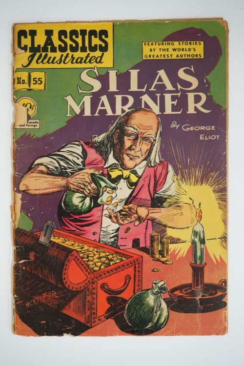 Front cover of graphic novel of Silas Marner. Shows man with pink waistcoat and yellow bowtie. A candle on the right hand side and box of gold coins next to him.