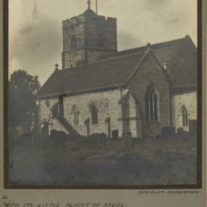Black and white photograph showing a church and churchyard. Surrounded by a green/brown mount. At the top are the words, Coton Church (Shepperton). Underneath the photograph is a quote from George Eliot's book, Scenes of Clerical Life. The signature of the photographer, Speight is shown underneath.