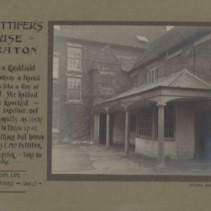 Black and white photograph showing the side view of a house. It is mounted on green/brown card. The title Mrs Pettifer's House and an extract from Janet's Repentance by George Eliot is written on the left hand side of the mount.