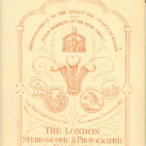 Reverse of the photograph of George Eliot.Shows the trademarks for The London Stereoscopic & Photographic Company.