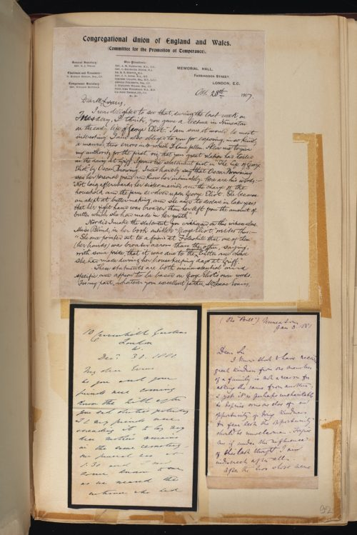 Inner page from a scrapbook. It includes a letter from Edith Simcox, friend of George Eliot following her death.