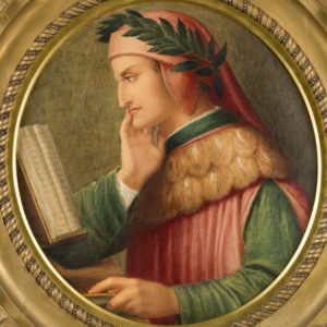 Detail of a circular watercolour painting. It is surrounded by a ornate gold frame. The painting shows a man from the side. He is reading a book with the right side of his chin resting on his right hand. He has a red head covering on top of which is a green leaf crown. He wears a red tabard with green sleeves.