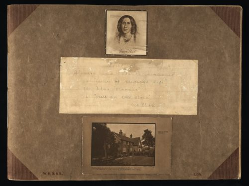 Page from a scrap book. At the top there is a photograph of George Eliot. Underneath a handwritten note with the words; Flowers and plants mentioned in a) Scenes of Clerical Life b) Silas Marner c)Mill on the Floss. Under this is a photograph of South Farm, Arbury taken by Speight.