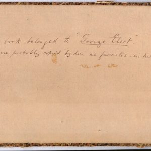 Inner page of a book. Handwritten are the words: This book belonged to George Eliot.