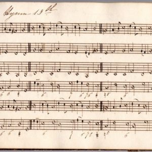Page from a music manuscript. Shows lines with musical notes.