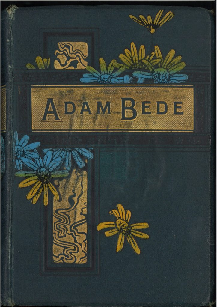 Book with green cover. Title shown in a gold band. Illustrated with blue and gold flowers.