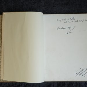 Inner pages of an open book. Handwritten on the inside is the inscription, To my mother and father with their daughter Patty's best love. Patty Townsend was one of the book's illustrators.