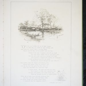 Inner page from the book. Black and white illustration showing a canal surrounded by trees and shrubs. A building can be seen in the background and a figure to the left hand side. Underneath is the title Shepperton Canal and the signature of Patty Townsend. Beneath are verses from George Eliot's poem. Brother and Sister