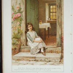 Inner page from the book. Full page colour illustration of a girl sitting on the door step to a house, the door is open to reveal the interior of a small room. The girl is apparently singing. It is signed G.G.Kilburne. Benarth is a quote.
