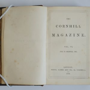 Inner page of a book. The right hand side has the following title: The Cornhill Magazine. Vol.V1. July to December 1862.