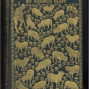Book with green cover. Illustration in gold of sheep, sheepdog and farmer in gold.