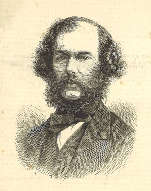 Black and white illustration of the head and shoulders of a man. He has wavy hair, a moustache and beard. He is wearing a shirt, waistcoat, jacket and bowtie.