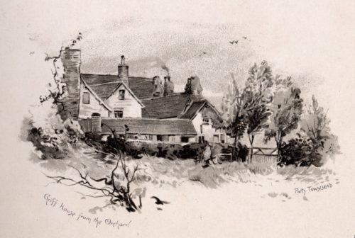 Black and white illustration. A large house can be seen with smoking chimneys and numerous windows. In the foreground is an orchard with grass and trees. The words Griff House from the Orachard and Patty Townsend are written along the bottom.