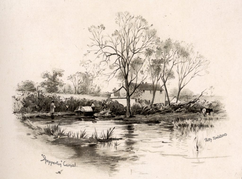 Black and white illustration showing a canal surrounded by hedges. There are larger trees in the centre in front of a house. A cow can be seen on the right hand side. A boat is on the water on the left hand side and nearby is a figure. The words Shepperton Canal and Patty Townsend are written on the bottom.