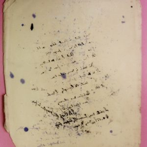 Sheet of cream coloured blotter paper. Many lines of writing in blue and violet ink are seen all over the paper.