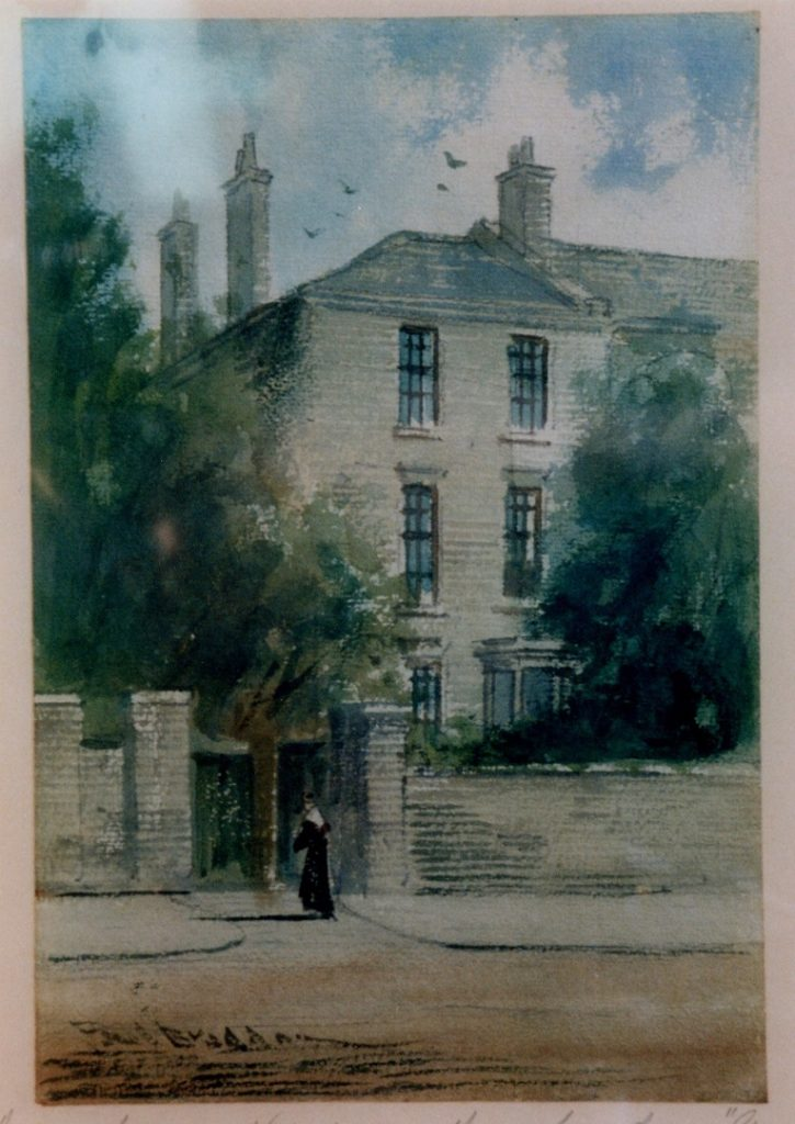 Watercolour painting shows part of a house. There are three chimneys and five window visible. A wall surround the front of the house and a figure is in the foreground. There are tall trees to the left and the right of the house. Aboce is a blue sky with clouds and birds flying around the chimneys.