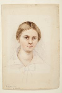Watercolour painting of a women. She has brown hair which is parted in the centre and tied up. She has a white collar and bow tied at the neck. In the left hand corner are the words S.S Hennell by herself.