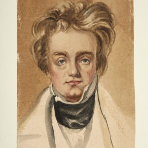 Watercolour portrait of a man. He has big hair and has a high white colour with a dark scarf and light coloured jacket.