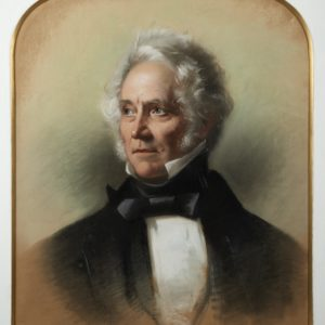 Painting of Dr Robert Brabant. Shows a man looking slightly to one side. He has white/grey hair and is wearing a high white collar, white shirt, black neck tie and black jacket.
