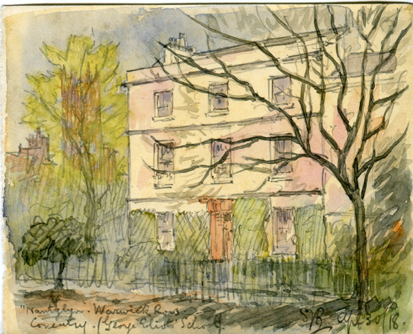 Painting showing a large light coloured building. Eight windows are visible and a door. A small fence surrounds the front. A large tree with bare branches is in the foreground. There are also trees to the left hand side.