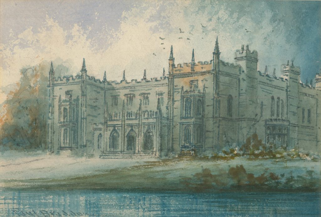 Painting of a grand house with numerous turrets and large windows. There a garden and then water in front of the building. Trees can be seen to the left. There is a blue sky with clouds and birds flying around the roof.