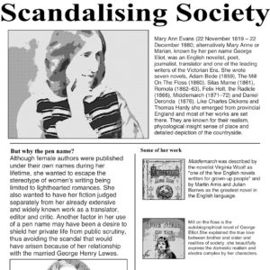 Mock newspaper titled The Daily News with the headline Scandalising Society and photographs of George Eliot with text.