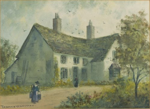 Painting showing a house with several windows and two chimneys. There are bushes and a tree on the right hand side. A figure is by the front door and another figure walking up the path near the house. A barrel can be seen along the side wall. There are birds flying above the roof. The signature Thomas Wakeman is written in the bottom left hand corner.