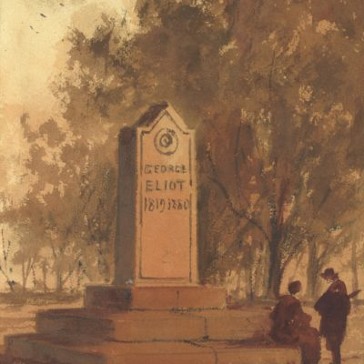 Painting of a stone memorial with George Eliot 1819-1880 engraved on it. There are two figures to the right of the memorial with one seated on the plinth. There are trees to the right hand side and birds flying overhead.