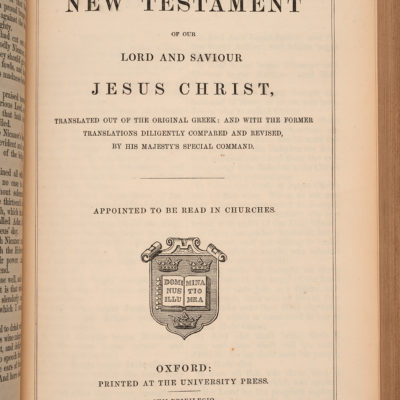 First page of Bible owned by George Eliot.